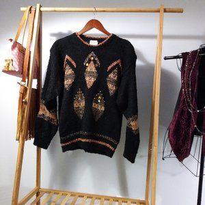 Bejeweled Beaded Metallic Multicolor Sweater M